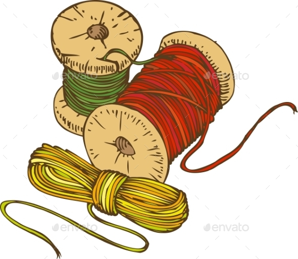 Three Color Spools Of Thread - Backgrounds Decorative