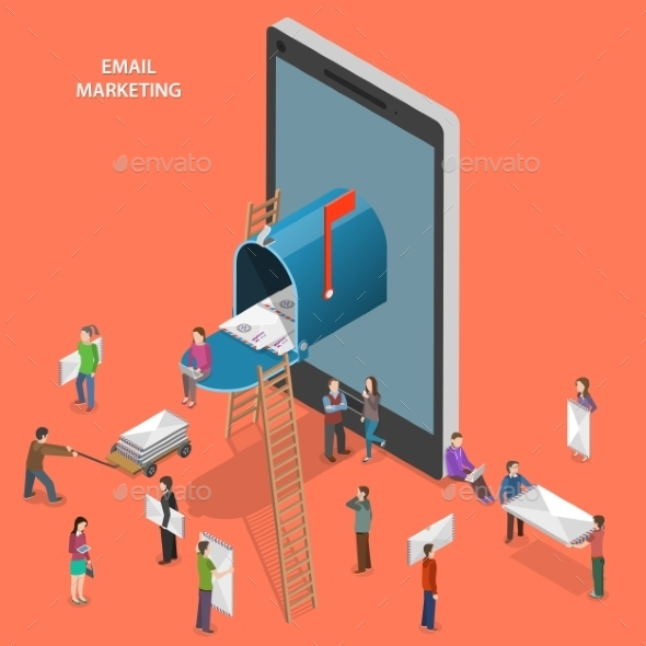 Email Marketing Flat Isometric Vector Concept.  - Computers Technology
