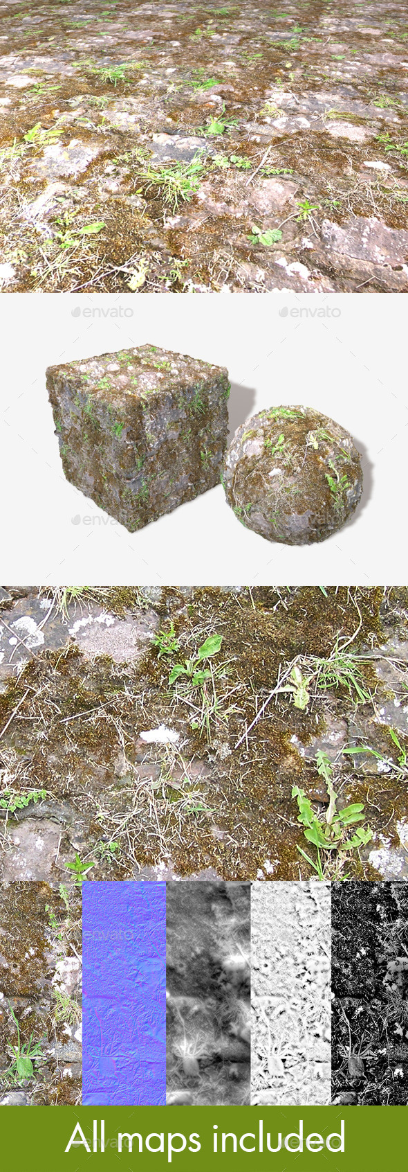 Mossy Ground Bricks Seamless Texture - 3DOcean Item for Sale