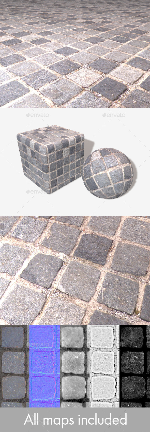 Square Cobbles Seamless Texture - 3DOcean Item for Sale
