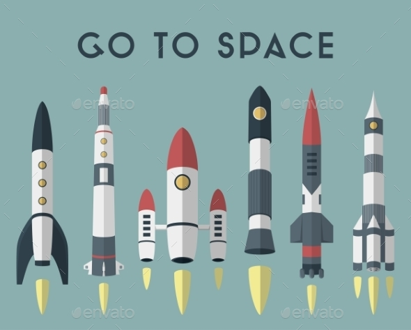 Rockets Going To Space. Vector Flat Design Colored - Concepts Business