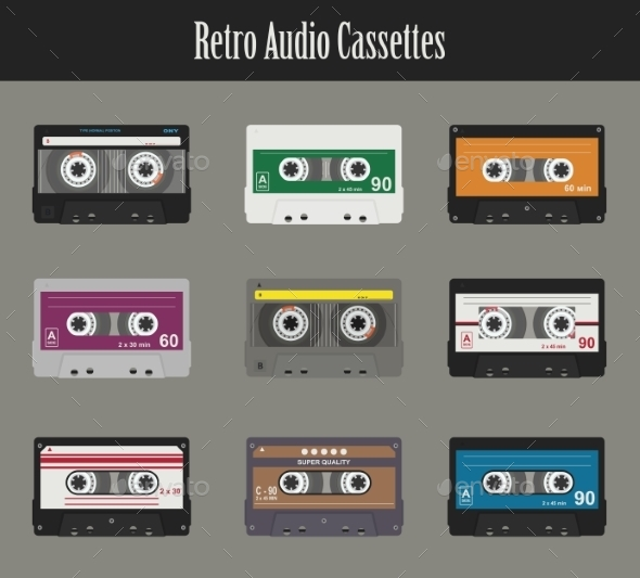 Audio Cassette. Flat Tapes - Patterns Decorative