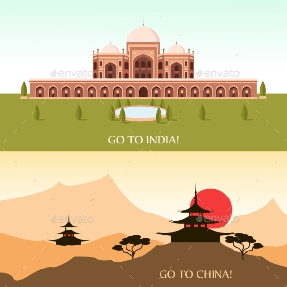 Tourism For China And India - Buildings Objects