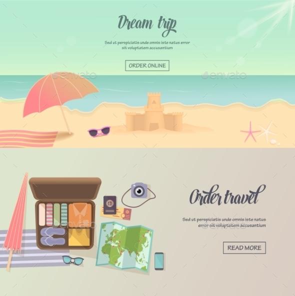 Summer Holidays, Beach Labels, Umbrella And Castle - Travel Conceptual