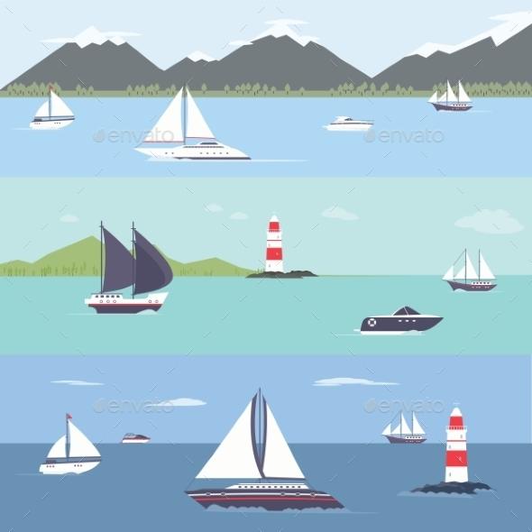 Ship Traveling, Island Landscape, Sailing - Landscapes Nature