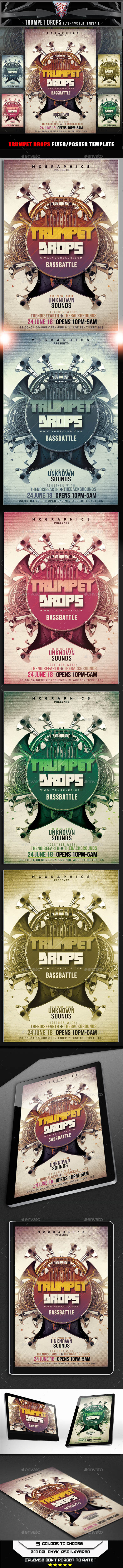 Trumpet Drops Flyer Template - Flyers Print Templates
