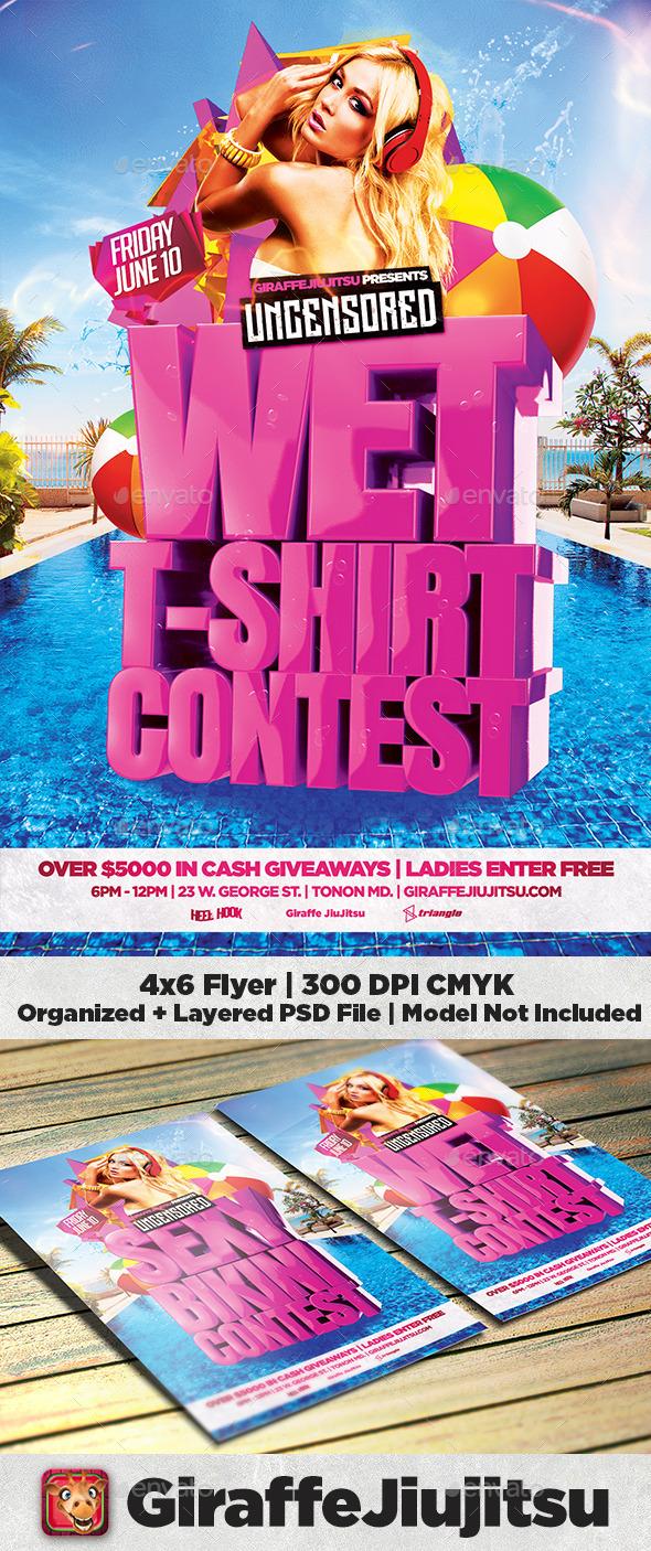Wet T Shirt / Bikini Contest Flyer Template - Clubs & Parties Events