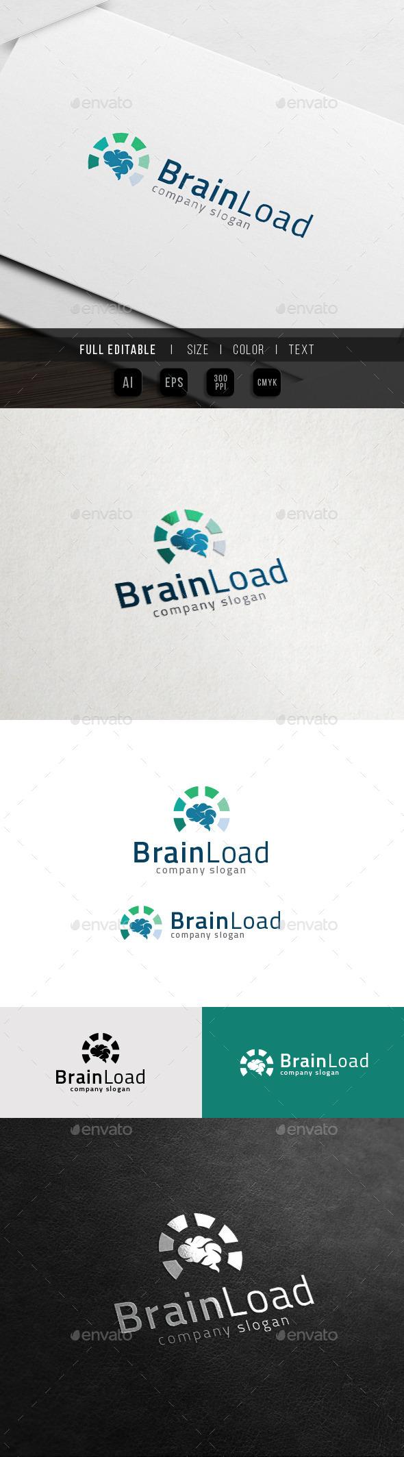 Brain Smart Meter - Genius Idea Loading Logo - Humans Logo Templates