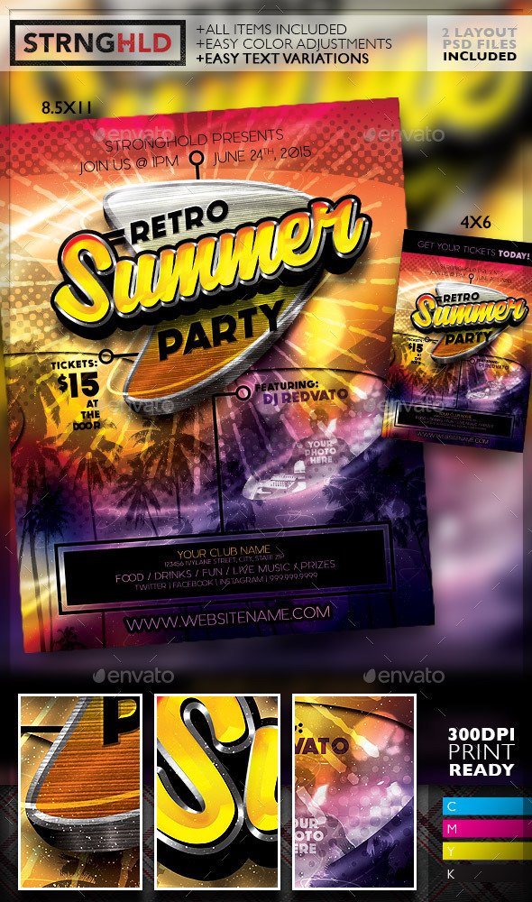 Retro Summer Party Flyer Template - Retro/Vintage Business Cards