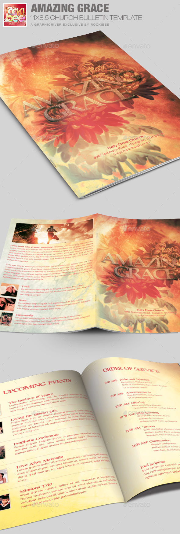 Grace Church  Bulletin Template - Informational Brochures