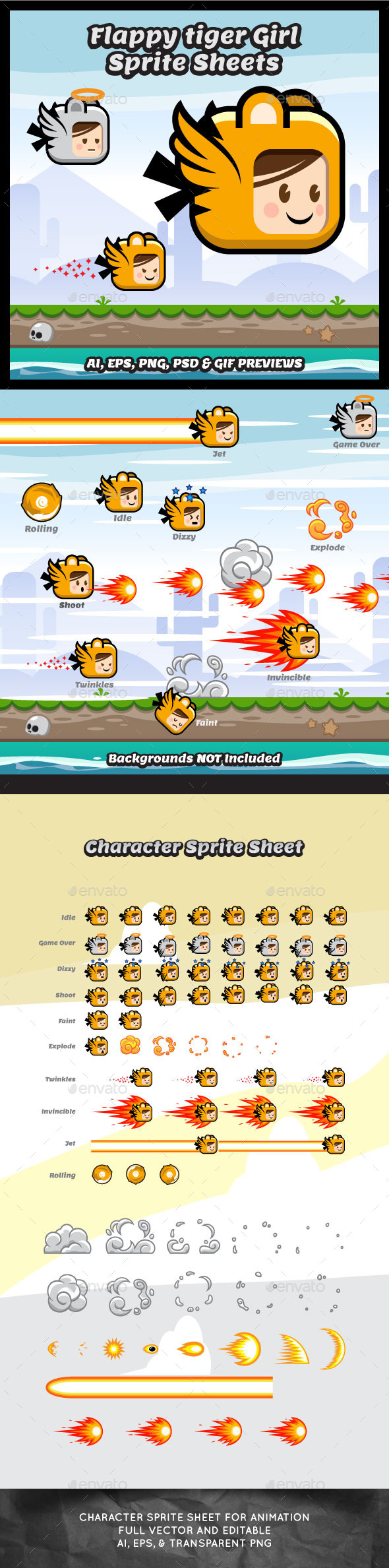 Flappy Tiger Girl Game Character Sprite Sheets - Sprites Game Assets