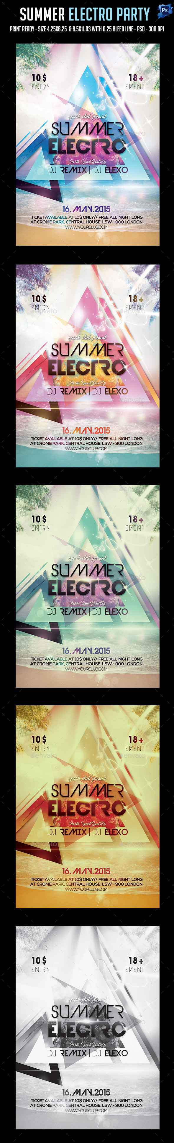 Summer Electro Party Flyer - Clubs & Parties Events