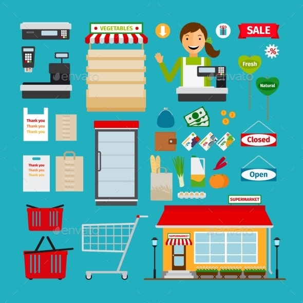 Supermarket Icons - Retail Commercial / Shopping