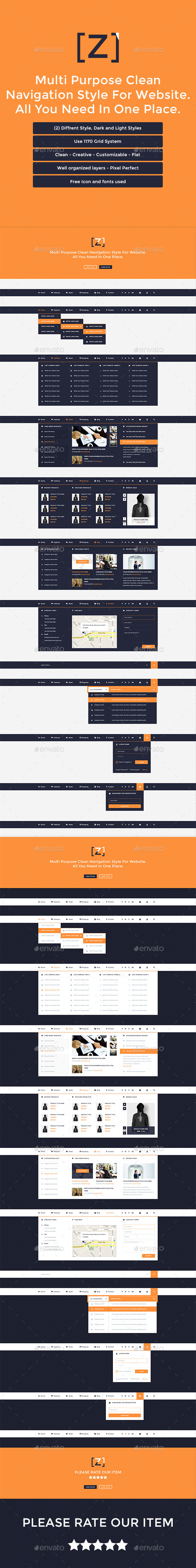 Z - Multi Purpose Clean Navigation For Website - Navigation Bars Web Elements