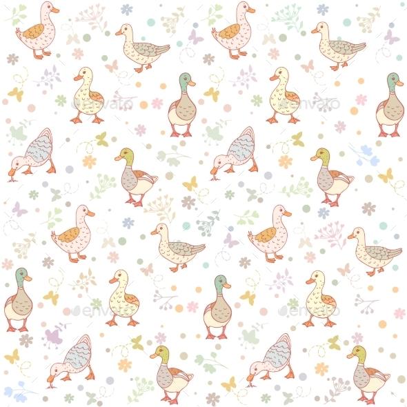 Ducks Seamless Background - Patterns Decorative