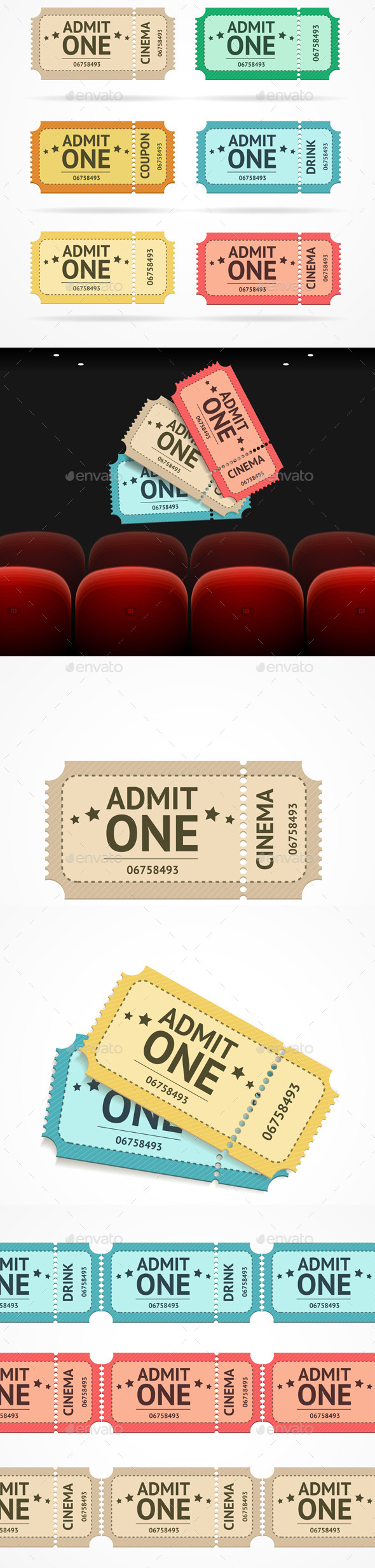 Vector Cinema Concept and  Tickets Set - Conceptual Vectors