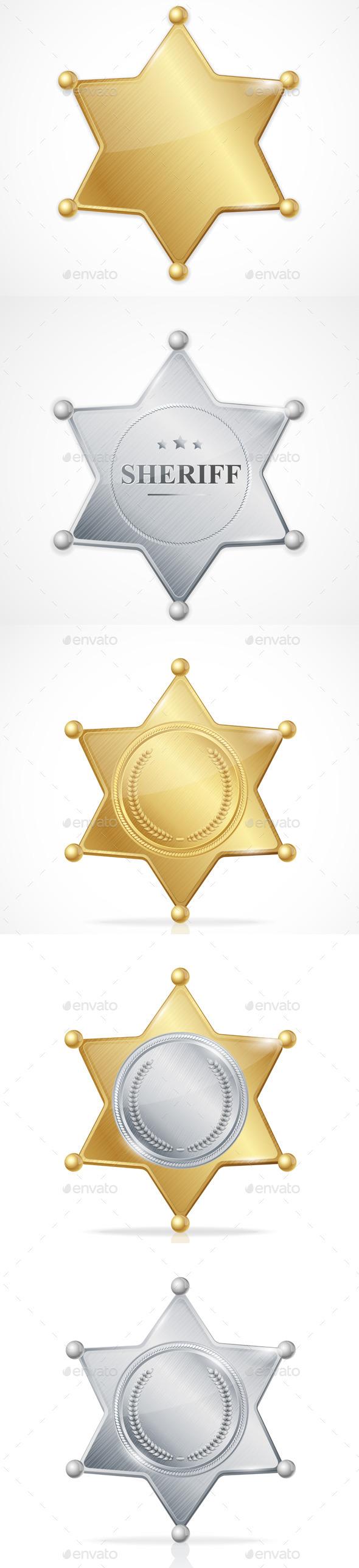 Vector Sheriff Badge Star Set - Objects Vectors