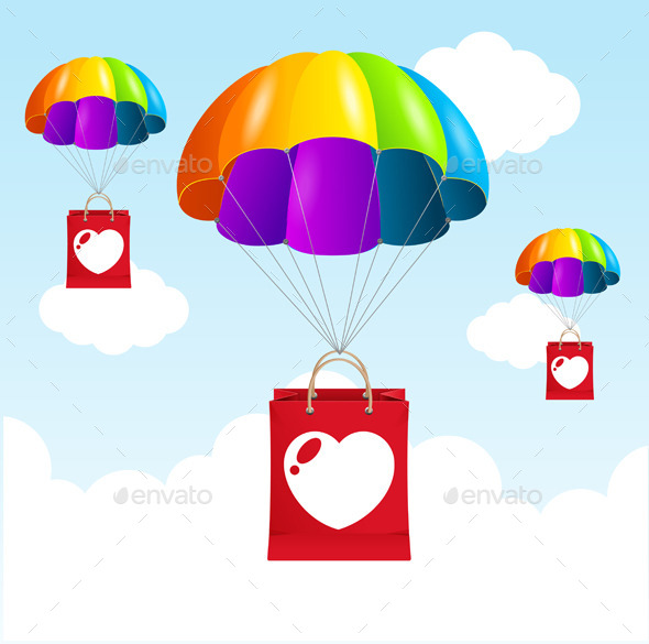 Vector Rainbow Parachute Love Concept - Valentines Seasons/Holidays