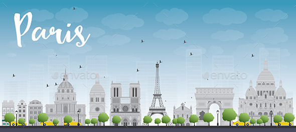 Paris Skyline with Grey Landmarks and Blue Sky - Buildings Objects