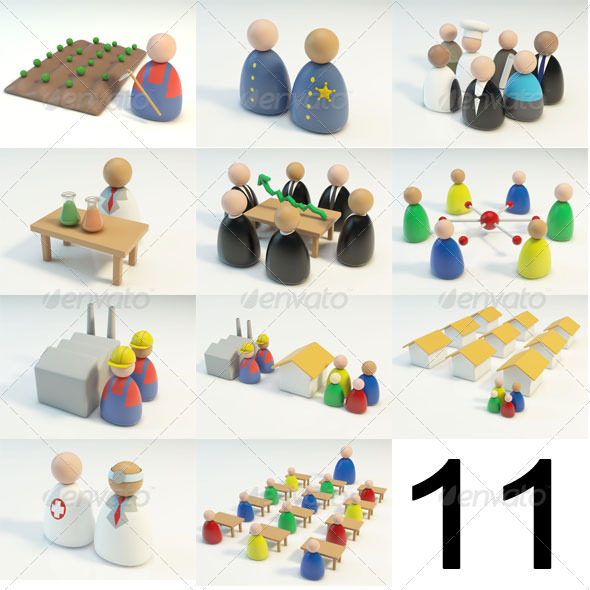 11 3D Figures Scenes - 3DOcean Item for Sale