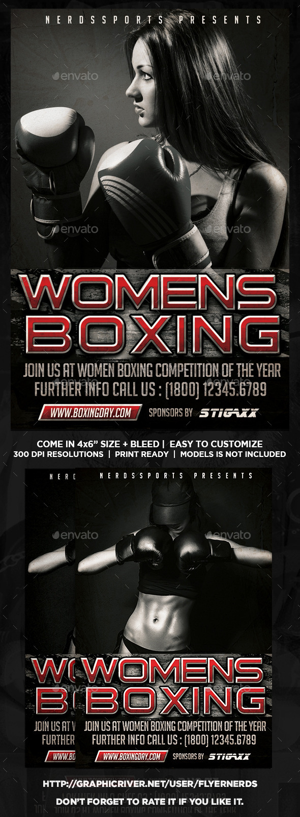 Womens Boxing Championships Sports Flyer  - Sports Events