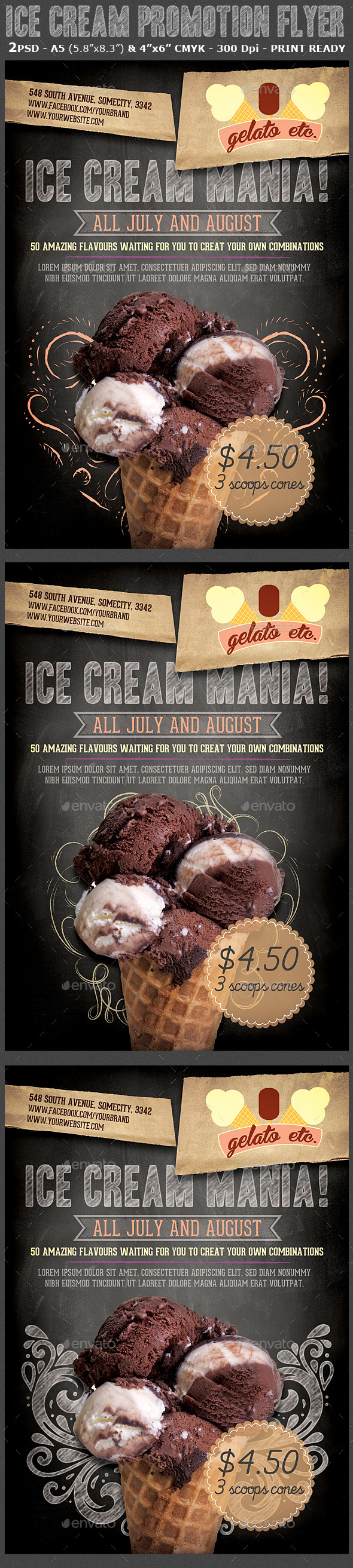 Ice Cream Shop Promotion Flyer Template - Flyers Print Templates