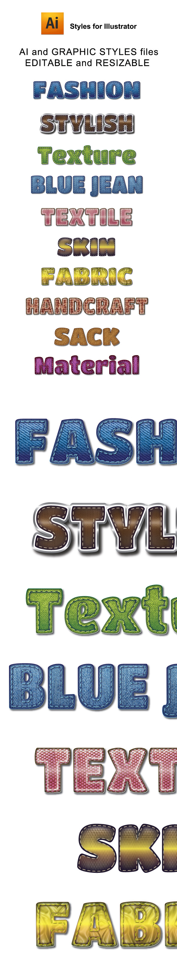 Fashion Material Graphic Styles for Ai - Styles Illustrator