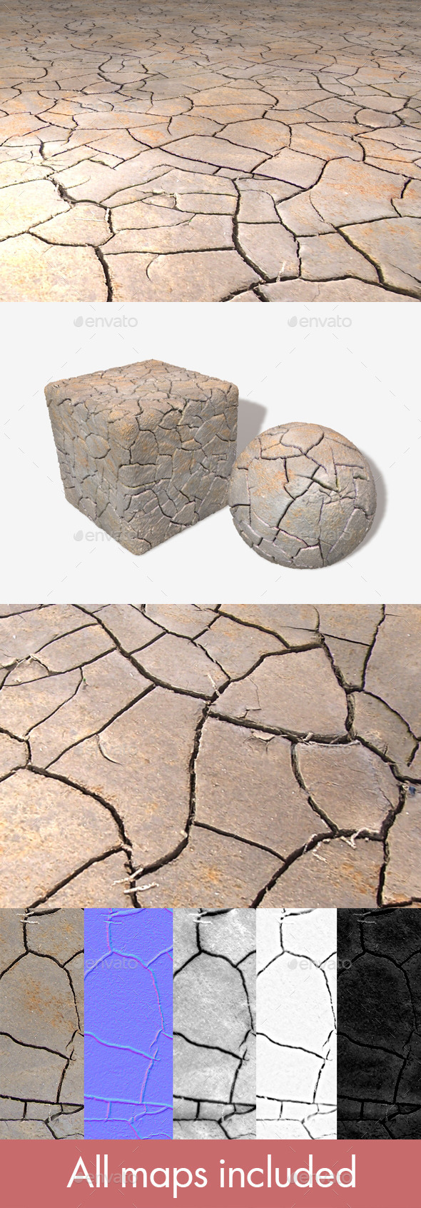 Cracked Mud Seamless Texture - 3DOcean Item for Sale