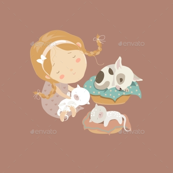 Girl with Kittens and Puppy - Miscellaneous Characters