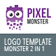 Pixel and Bubble Monster Logo Template 2in1 - GraphicRiver Item for Sale