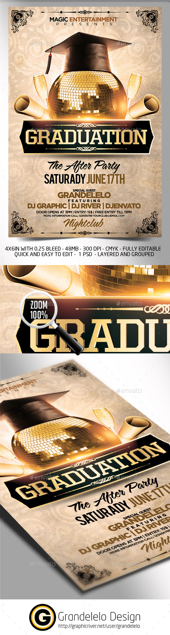 Graduation After Party Flyer Template   Clubs U0026 Parties Events