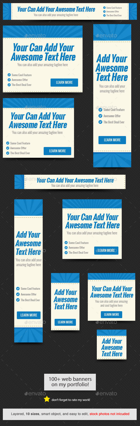 Blue Rays Web Banner Template - Banners & Ads Web Elements