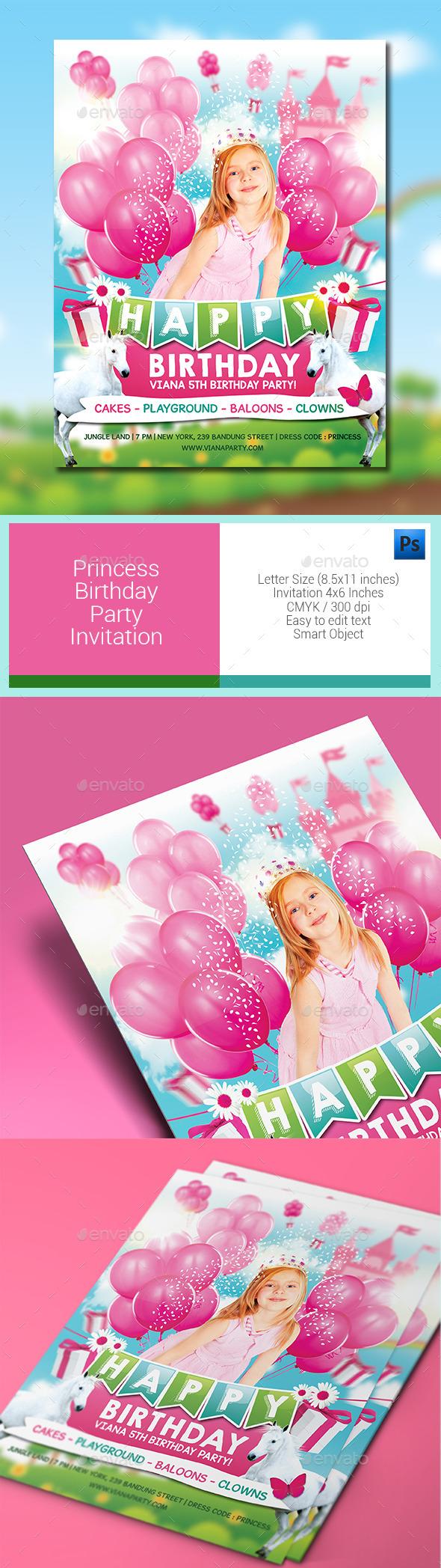 Princess Birthday Party Invitation - Birthday Greeting Cards