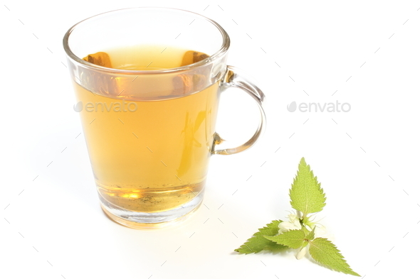 Fresh nettle with white flowers and cup of beverage - Stock Photo - Images