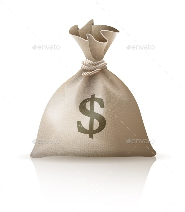 Full Sack with Money Dollars - Concepts Business