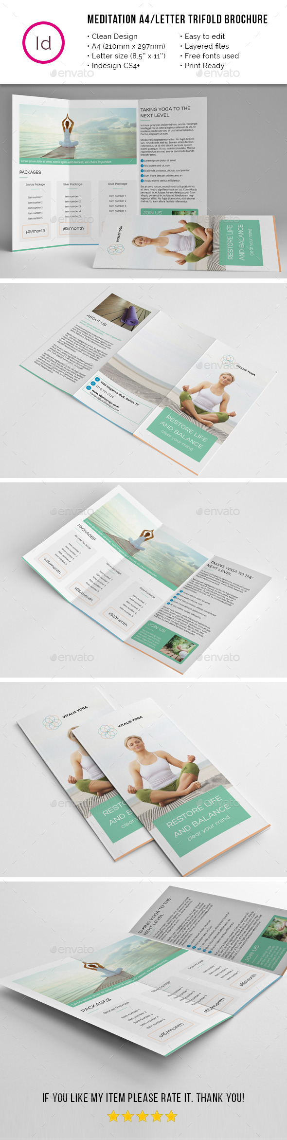 Yoga meditation a4 letter trifold brochure by mediabq for Yoga brochure templates