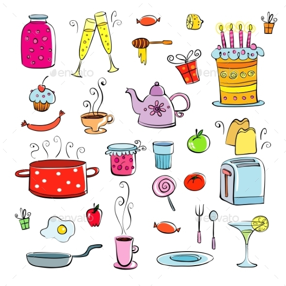 Meal and Ware Doodle Set - Food Objects