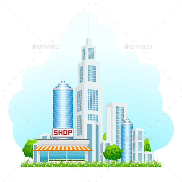 Shop Building with Cityscape - Buildings Objects