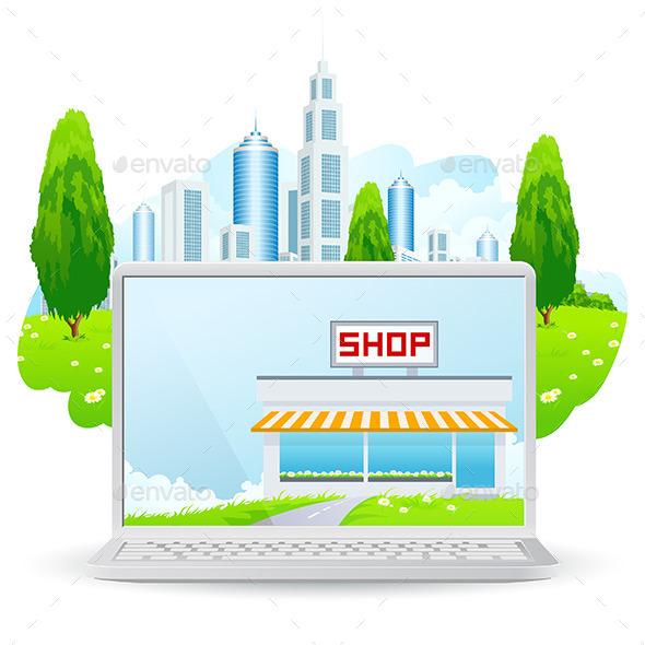 Laptop with Shop Building - Concepts Business