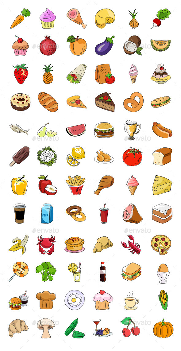 70+ Food Sketchy Colored Icons - Food Objects