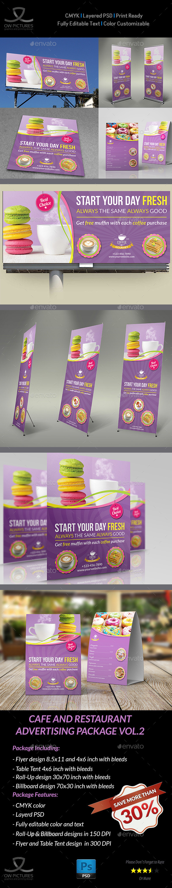 Cafe and Restaurant Advertising Bundle Vol.2 - Signage Print Templates