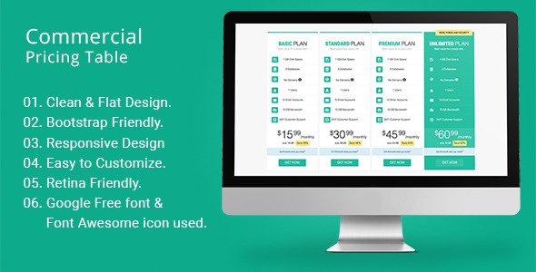 Commercial Pricing Table - CodeCanyon Item for Sale