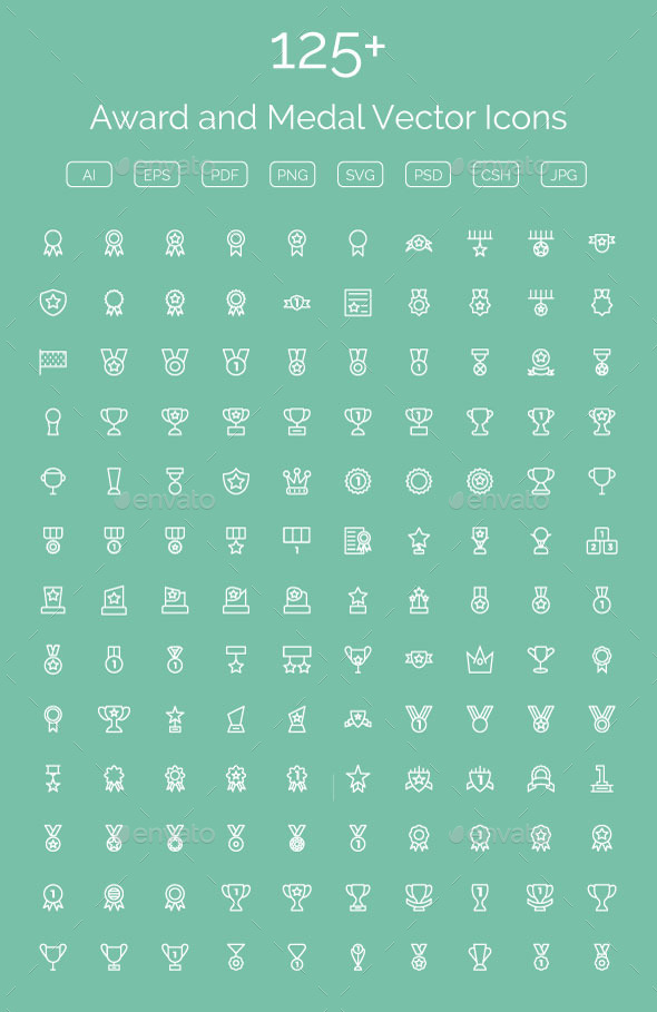 125+ Award and Medal Vector Icons - Icons