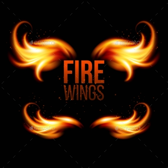 Wings in Flame and Fire - Decorative Symbols Decorative