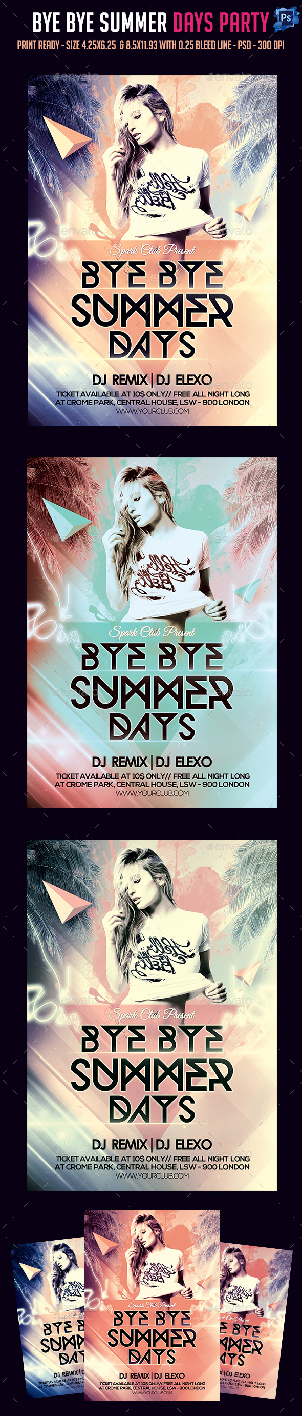 Bye Bye Summer Days Party Flyer - Clubs & Parties Events