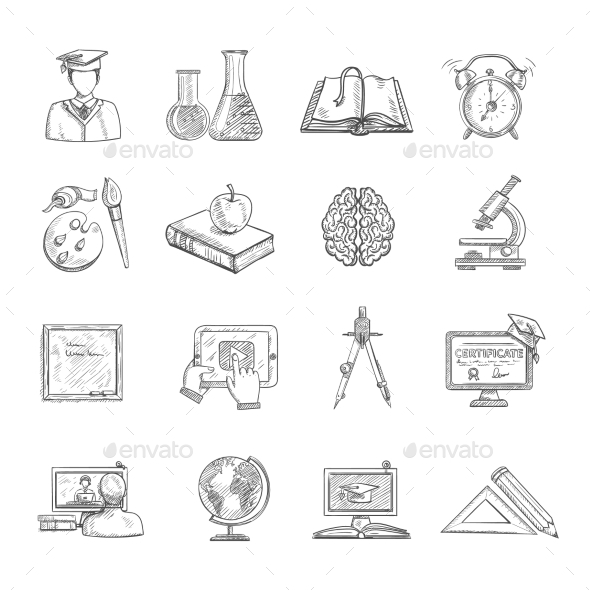 Education Icons Sketch Set - Miscellaneous Icons
