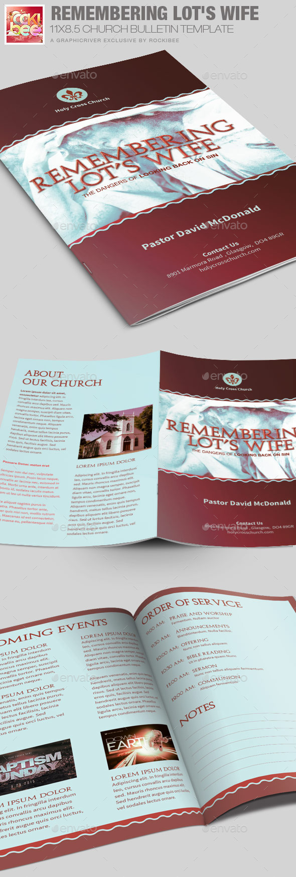 Remembering Lot's Wife Church Bulletin Template - Informational Brochures
