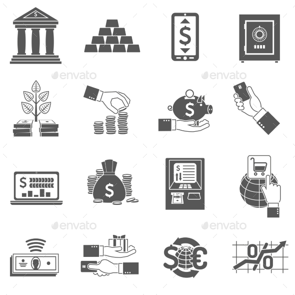 Banking Icon Black Set - Business Icons