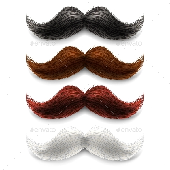 Fake Moustaches Color Set - Miscellaneous Vectors
