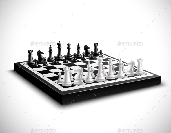 Chess Board Illustration - Sports/Activity Conceptual
